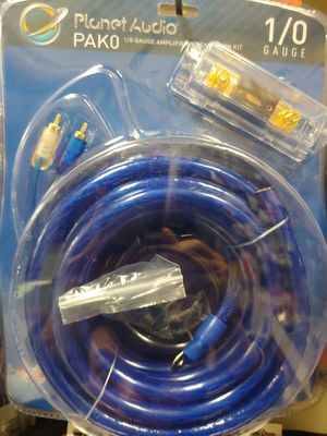 Car amplifier installation kit : Planet Audio 1/ 0 age wire kit 17 ft blue power, speaker wire rca jack. 25 feet speaker wire ANL 250a fuse holder for Sale in Bell Gardens, CA