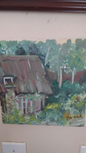 Cottage in the Forest oil painting original for Sale in Richland, WA