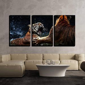 """3 Piece Canvas Wall Art - Tiger Attack to Other Tiger - Modern Home Decor Stretched and Framed Ready to Hang - 24""""x36""""x3 Panels for Sale in Manhattan Beach, CA"""