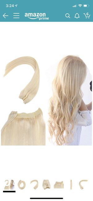 oungsee 18inch Flip Halo Blonde Human Hair Extensions Color #60 Hidden Halo Couture Hair Extensions Adjustable Wire Headbands for Women 12inch Width for Sale in Garland, TX