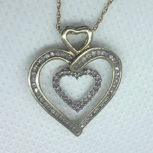 Real Solid 10K Gold Heart Charm with Real Channel Set Diamonds and Real Solid 10K Gold Necklace for Sale in Hollywood, FL