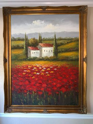 Beautiful Large Framed Oil on Canvas of a Tuscan Countryside Scene for Sale in Wheat Ridge, CO