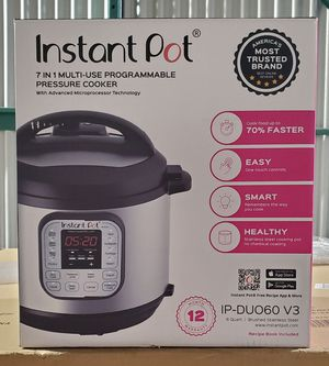 Instant Pot Duo 7-in-1 Electric Pressure Cooker, Slow Cooker, Rice Cooker, Steamer, Saute, Yogurt Maker, and Warmer, 6 Quart, 14 One-Touch Programs for Sale in Braintree, MA