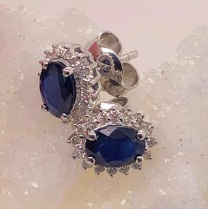 Sapphire and Diamonds Earrings White Gold 18k for Sale in Boca Raton, FL