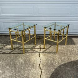 Vintage Brass And Glass Side Tables (Set Of 2) for Sale in Seattle,  WA