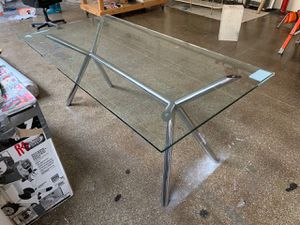 """West Elm table. Glass top, steel legs with chrome finish. 72"""" x 36"""" Like new condition. Just needs to be cleaned up. Location is Sunset Park, Brookly for Sale for sale  Brooklyn, NY"""