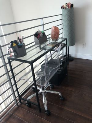 Small writing desk table glass and metal for Sale in Miami, FL