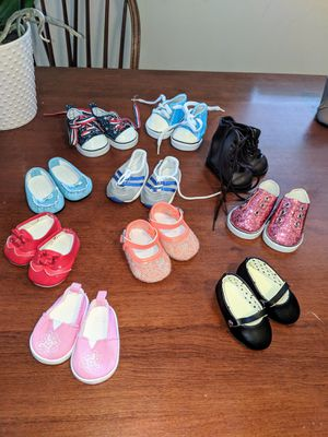 American Girl doll size shoe lot 10 pair for Sale in Levittown, PA