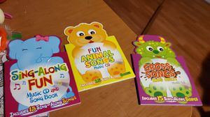 Kids sing along songs cd and book 3 books and cds for Sale in Anaheim, CA