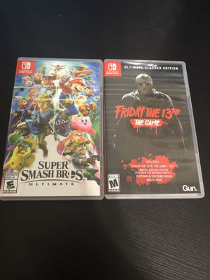 Nintendo switch games: super smash bro's ultimate and Friday the 13th the game for Sale in Ontario, CA