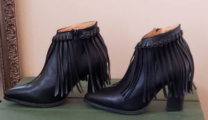 New in Box Black Leather Fringe Women's Booties Size 8 for Sale in Littleton, CO