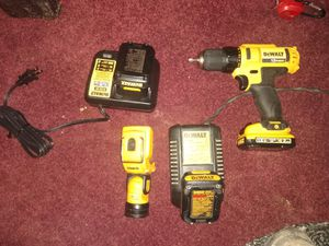Brand new 12 volt XR 2 drill 2 batteries and charger comes with the used flashlight one battery and charger for Sale in Biltmore Lake, NC