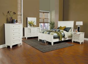 4 pc sandy beach classic white wood finish queen high headboard bedroom set for Sale in Naples, FL