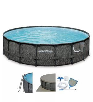 Summer Waves Elite 18ft x 48in Above Ground Frame Swimming Pool Set with Pump for Sale in Portland, OR