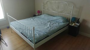 King bed frame, white metal with wooden slats for Sale in Dunwoody, GA