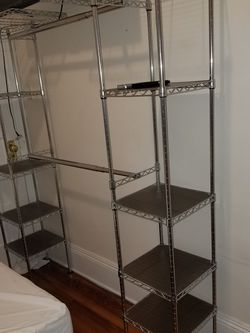Expandable Metal Hanging Storage Organizer Rack Wardrobe with Shelves for Sale in New York,  NY