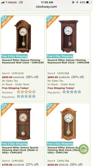 Westminster chimes wall clock model quartes antique for Sale in Shoreline, WA