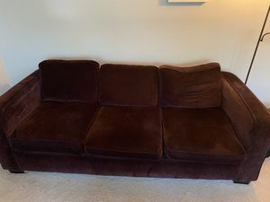 Deep purple living room couch, love seat, foot stool. Fair condition ( two cushions have tears that can be sewn and leg on foot stool needs to be pla for Sale in Sudley Springs, VA