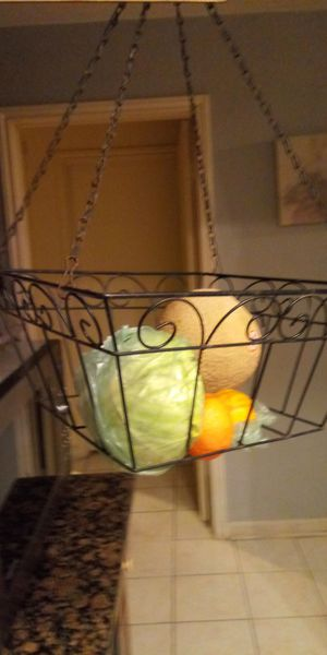 Metal fruit or plant hanging basket Metal fruit or plant hanging basket inches tall x 14 x 14 for Sale in Missouri City, TX