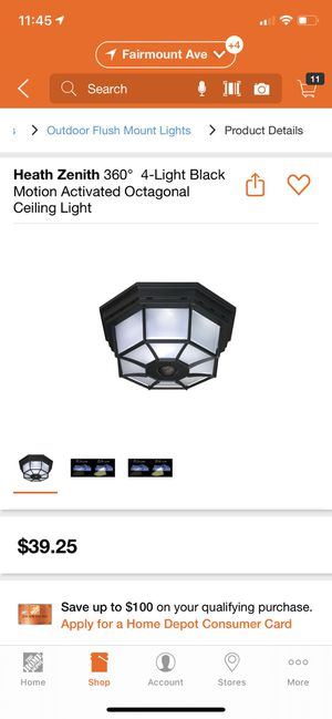 Heath Zenith 360° 4-Light Bulb Black Motion Activated Octagonal Ceiling Light for Sale in San Diego, CA