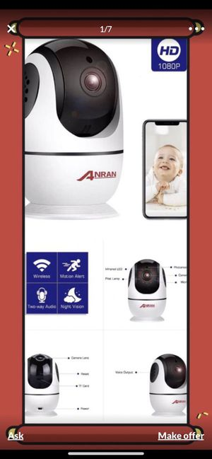 Wireless Security Camera 1080p, Home Smart WiFi Camera Indoor 360º for Sale in Alhambra, CA