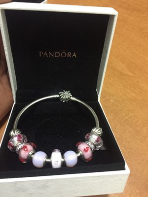 Pandora bangle + 7 Murano Glass charms, 2 spacers, 2clips for Sale in Las Vegas, NV
