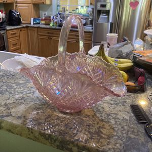 Glass Pink Iridescent basket Bowl for Sale in Port Richey, FL