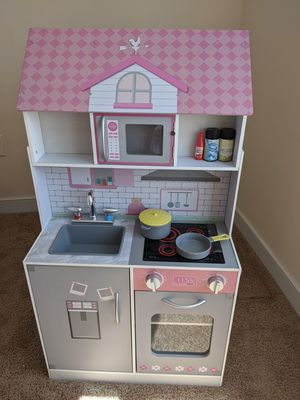 2-in-1 Doll House & Play Kitchen Wooden Pretend Playset for Sale in Chesapeake, VA