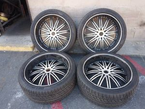 24 inch black rims and good tires. 6 lug Chevy, GMC, Caddy for Sale in Montebello, CA