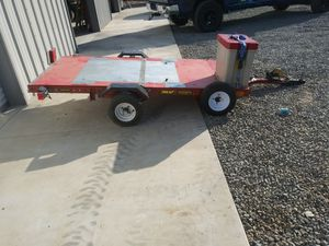 4 x 8 plated trailer has all working lights ,ratchet style winch,tool box ,and small tire carrying rack , perfect for Karting,or motorcycles for Sale in Lakeside, CA