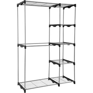 Two Tier Wire Shelf Closet Organizer Space Bedroom Storage Rack Clothes Pants Shoes Modern Tall for Sale in Orlando, FL