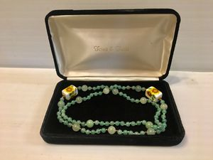ONE OF A KIND AND VERY RARE VINTAGE GREEN JADE BEADED BALL NECKLACE 18K YELLOW GOLD BALL ACCENTS HAND PAINTED FLOWER CHAR for Sale in Palo Alto, CA