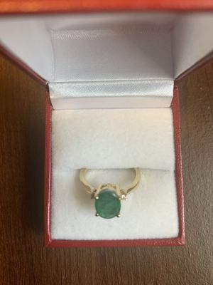 14k Gold Lady Fancy Diamond and Emerald Ring.Size 6 and half for Sale in Richmond, TX