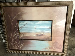 Boat ocean beach sea art in large picture frame for Sale in San Francisco, CA