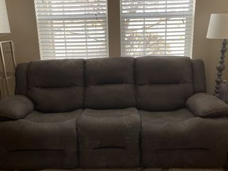 Gray Faux Suede Recliner Sofa for Sale in Thornton,  CO