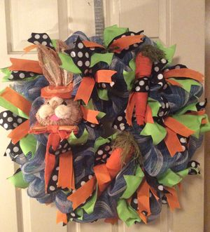 Easter/Spring Bunny Deco Mesh Wreath for Sale in Inwood, WV