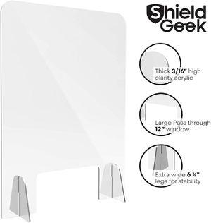 "Shield Geek Sneeze Guard for Counter Freestanding Plexiglass Shield 24x32"" for Sale in Murrieta, CA"