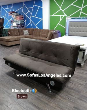 Brown Pillow Top Couch Sofa Futon Sofa Bed With Bluetooth Speakers for Sale in Los Angeles, CA