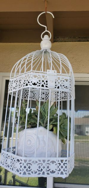 2pc metal hanging bird cage and owl planter packed with succullents for Sale in Orange, CA