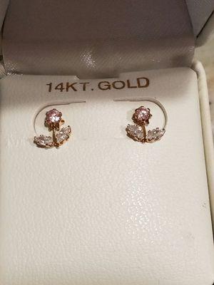 14k pink ice and diamond earrings for Sale in Mount Juliet, TN