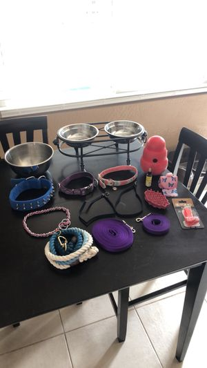 Dog bowls, collars, leashes, brush & more for Sale in Poway, CA