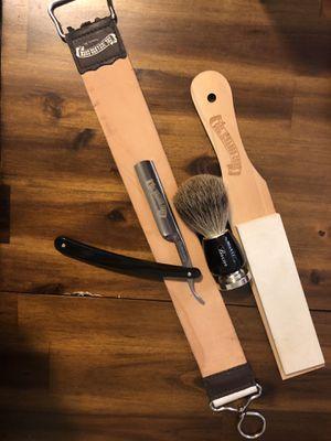 Dovo Straight Razor, Leather Strap, Fine Stone, Beaver Brush. New. for Sale in San Bernardino, CA