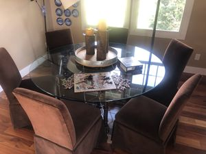 Glass dining table with 6 chairs for Sale in Littleton, CO