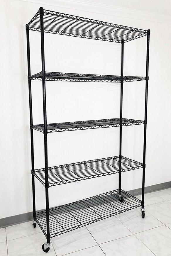 """(New in box) $90 Metal 5-Shelf Shelving Storage Unit Wire Organizer Rack Adjustable w/ Wheel Casters 48x18x82"""""""