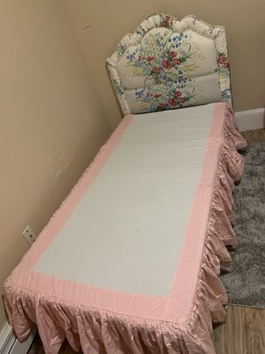Twin bed , not mattress only boxspring , headboard, frame , bed skirt for Sale in Lawrence, MA