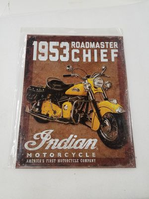 Indian motorcycle bike chief metal sign for Sale in Vancouver, WA