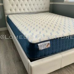 Queen White Button Tufted Bed W MATTRESS INCLUDED for Sale in Chino, CA