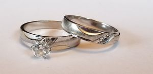 ❤Stunning 14K white gold custom diamond wedding set rings size 5 and 6❤ for Sale in Lake Stevens, WA