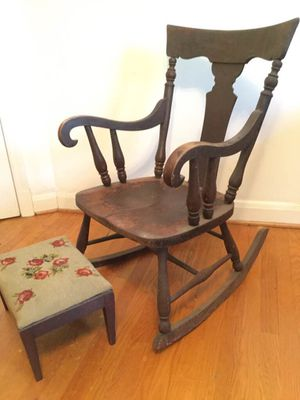 Antique rocking chair and needlepoint stool for Sale in Columbia, MD