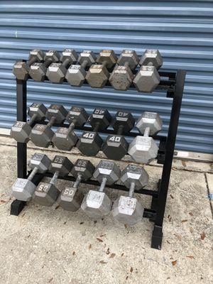 Dumbbell set 15- 70's! W rack for Sale in Oviedo, FL